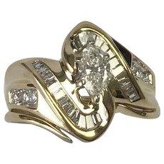 14 K Yellow Gold 1.06 Carat Marquise & Baguette Diamond Ring