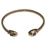 14 K Yellow Gold Multi Color Gemstone Flexible Cuff