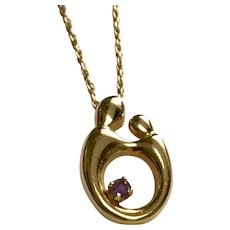 14 K yellow Gold Mommy & Child Amethyst Necklace
