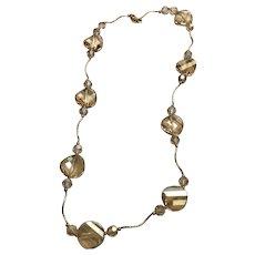 "14 K Yellow Gold Faceted Quartz Necklace/Choker 17"""