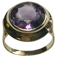 14 k Yellow Gold 4.00 Carat Round Amethyst Ring