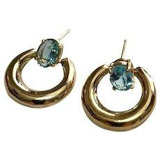 14 k Yellow Gold 1.60 Carat Topaz Door Knocker Earrings