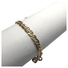 "14 k Yellow Gold Curb Link ID Bracelet 9"""