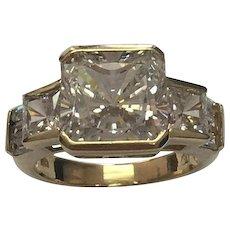 14 K Yellow Gold 7.00 Carat Square Cut Simulated Diamond Ring