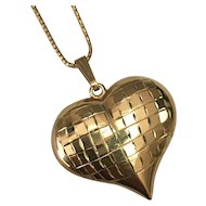 """14 K Yellow Gold Mirrored Effect Puffed Heart Necklace ~ 20"""""""