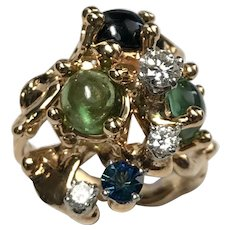 Vintage 14 k Yellow Gold, Peridot, Sapphire Diamond Cocktail Ring