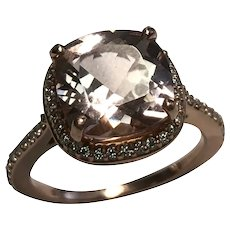 Vintage 14 k Rose Gold Cushion Cut 5.00 Carat Peach Morganite And Diamond Ring