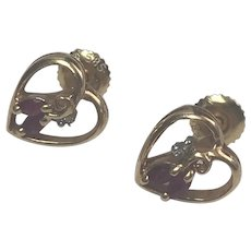 14 k Yellow Gold Pierced Stud Ruby And Diamond Earrings