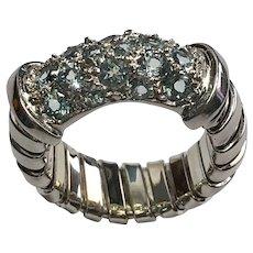 14 K White Gold Blue Topaz Unique Ring.