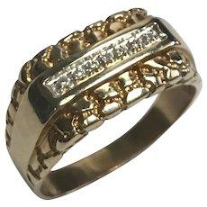 Vintage 14 K Yellow Gold 0.10 CTW Diamond Nugget Ring