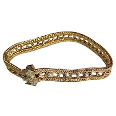 Vintage 14 K Yellow Gold Diamond Encrusted Crown Clasp Wheat Style Bracelet