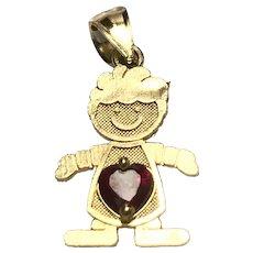14 K Yellow Gold July Heart Birthstone Boy Charm