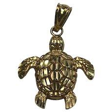 Vintage 14 k Yellow Gold, Sea Turtle Charm