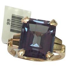 14 K Yellow Gold 8.50 Lab Created Emerald Cut Alexandrite Ring
