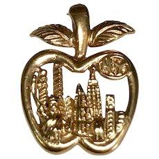 Vintage 14 k Gold New York City, Big Apple Pendant or Charm 1980's