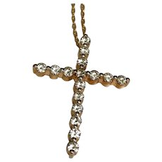 14 K Yellow Gold 1.75 CTW Moissanite Cross/Necklace
