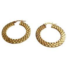 14 K Yellow Gold Textured Flat Hoop Earrings