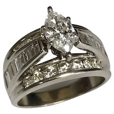 14 K White Gold 0.92 Carat Marquise Diamond Solitaire Ring~ GIA Cert.
