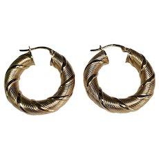 14 K Yellow Gold Twisted Medium Pierced Hoop Earrings