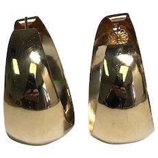 14 K Yellow Gold High Polished Wide Pierced Hoop Earrings