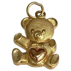 14 K Yellow /Rose Gold Teddy Bear Charm/Pendant