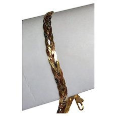 Retro 14 K Tri Gold 5 Chain Woven Bracelet