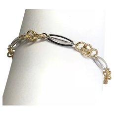 14 K Two Tone Gold Fancy Link Bracelet