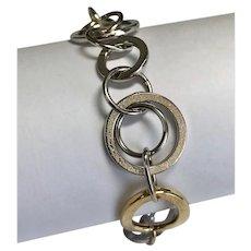 """14 K Two Tone Brushed Gold Link Bracelet 7"""""""