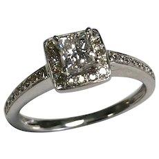 14 K White Gold 0.37 CTW Princess & Round Cut Diamond Engagement Ring ~ IGI Cert