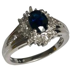 14 K White Gold 1.00 Carat Oval Sapphire & Baguette And Round Diamond Ring