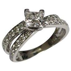 14 k White Gold 1.06 CTW Square Diamond Ring