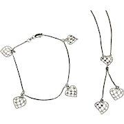 14 K White Gold Dangle Heart Lariat Necklace & Matching Bracelet