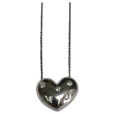 14 K White Gold 0.20 CTW Diamond Puffed Heart Pendant/Necklace