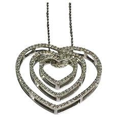14 K White Gold Triple Diamond Heart Necklace 1.00 CTW