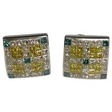 14 K White Gold Pierced Post Yellow, Blue & White 2.00 CTW Princess Cut Diamond Earrings