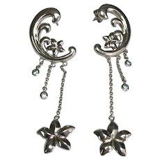 14 K White Gold Pierced Post Fancy Dangle Topaz Earrings