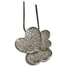 14 K White Gold 0.75 CTW Triple Diamond Heart Pendant/Necklace