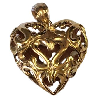 14 K Yellow Gold Filigree Puffed Heart Pendant