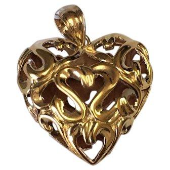 14 K Yellow Gold Filigree Puffed Heart Pendant