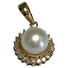 14 K Yellow Gold 6 mm White Cultured Pearl & Diamond Pendant