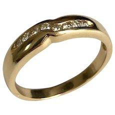 14 K Yellow Gold Unisex 8 Diamond Wedding Band
