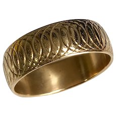 14 K Yellow Gold Engraved 8 mm Wedding Band