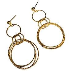 14 K Yellow Gold Pierced Post Triple Circle Dangle Earrings