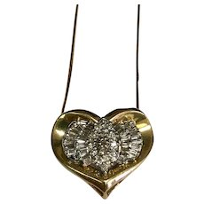 14 K Yellow Gold 1.00 Ctw Diamond Heart Slide Necklace
