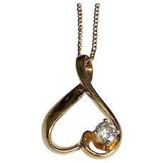 14 K Yellow Gold 0.25 Carat Diamond Heart Pendant/Necklace