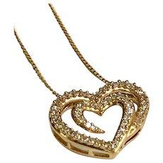 14 K Yellow Gold Double Diamond Heart Necklace 0.25 CTW