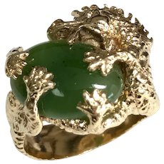 14 K Solid Gold Hand Crafted Dragon Jade Ring