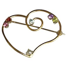 14 K Yellow Gold Multi Color Gemstone Large Open Heart Brooch/Pin