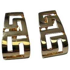 14 K Yellow Gold Pierced Post Half Hoop Greek Key Earrings