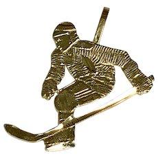 14 K Yellow Gold Hockey Player Charm/Pendant
